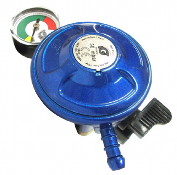 BUTANE 21mm CLIP ON GAS REGULATOR - WITH LEVEL GAUGE